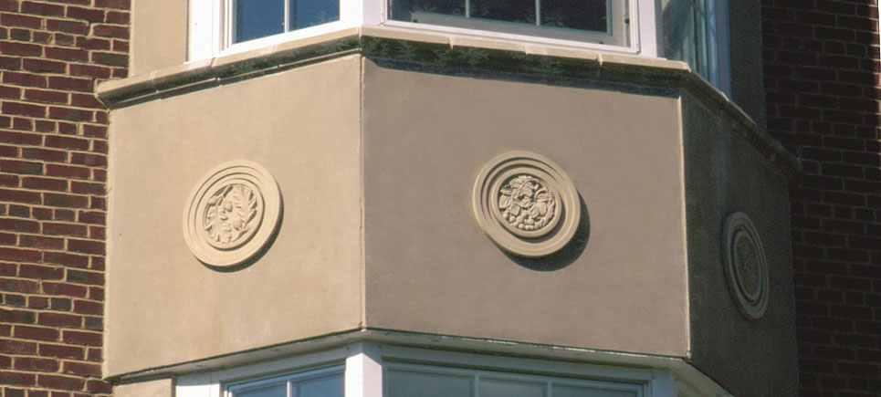 cast stone architectural medallion surround ornaments by Pineapple Grove Designs