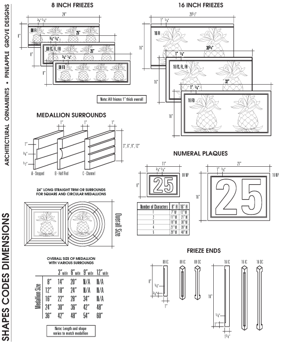 Shapes • Codes • DImensions Page 2