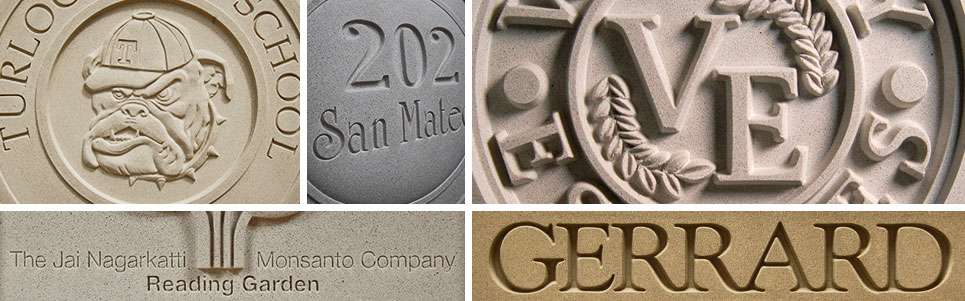 Pineapple Grove Designs custom cast stone signage and lettering medallions
