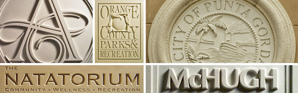 Pineapple Grove Designs cast stone Signage and Lettering medallions