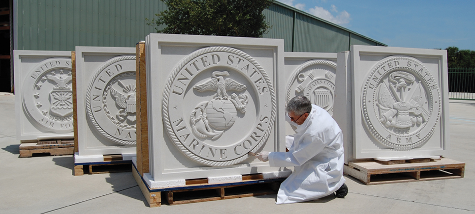 Pineapple Grove Designs sculpted architectural elements cast stone samples
