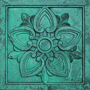 Polymer Composite Lotus-099 Patina Bronze Chromacast architectural ornament by Pineapple Grove Desingns